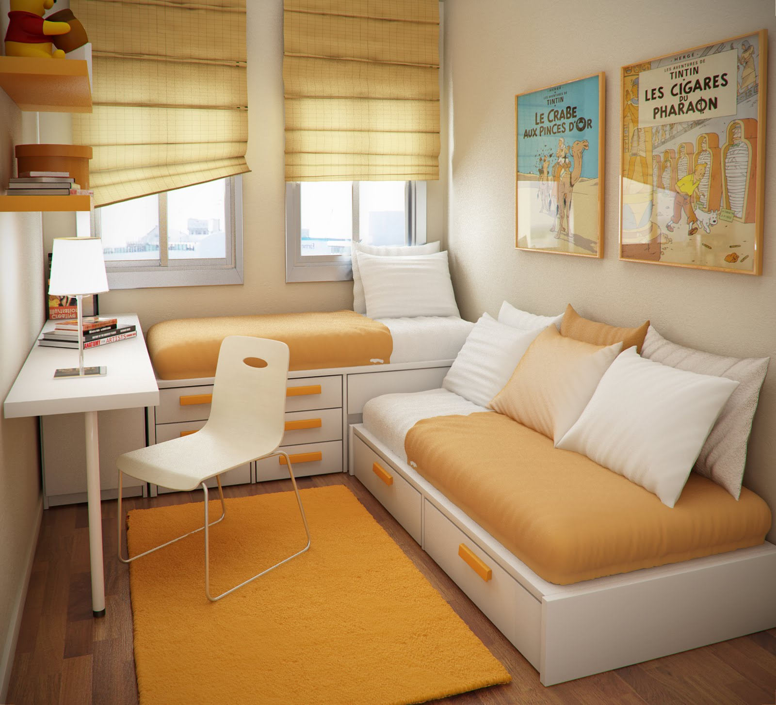 Use Simple Storage Bunk Beds in Small Bedroom Ideas with White Shaded Table Lamp
