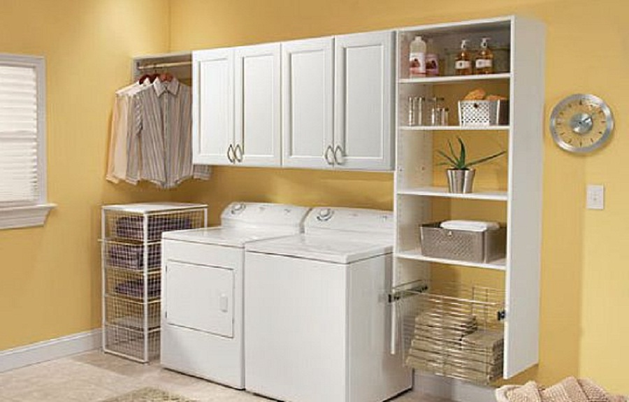 Use Small Laundry Room Ideas in Tiny Open Space with White Cabinets and Shelves beside Cream Wall