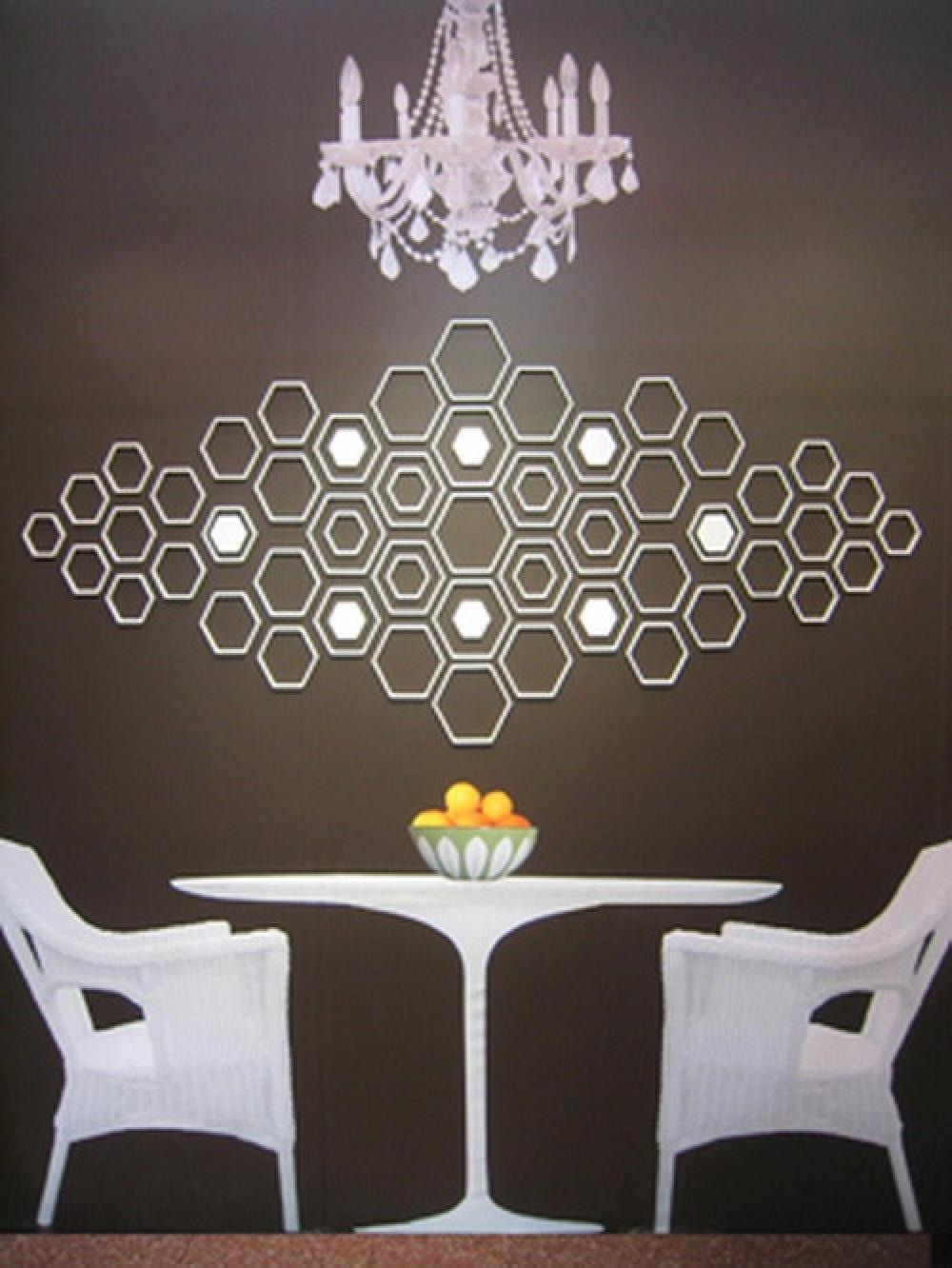 Use This Wall Decor Ideas for Elegant Dining Area with Wicker Chairs and Round Table under Crystal Chandelier