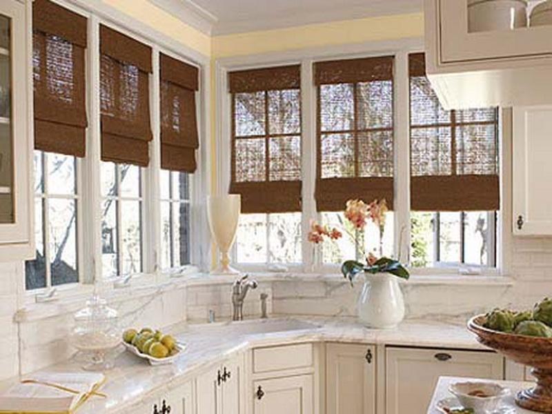 Very Thin Brown Blinds for Kitchen Window Treatment to Work with White Furnishing
