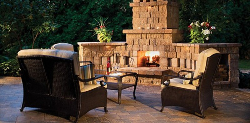 Warm Atmosphere Outside Supported by Perfect Outdoor Fireplace Plans with Stone Surround