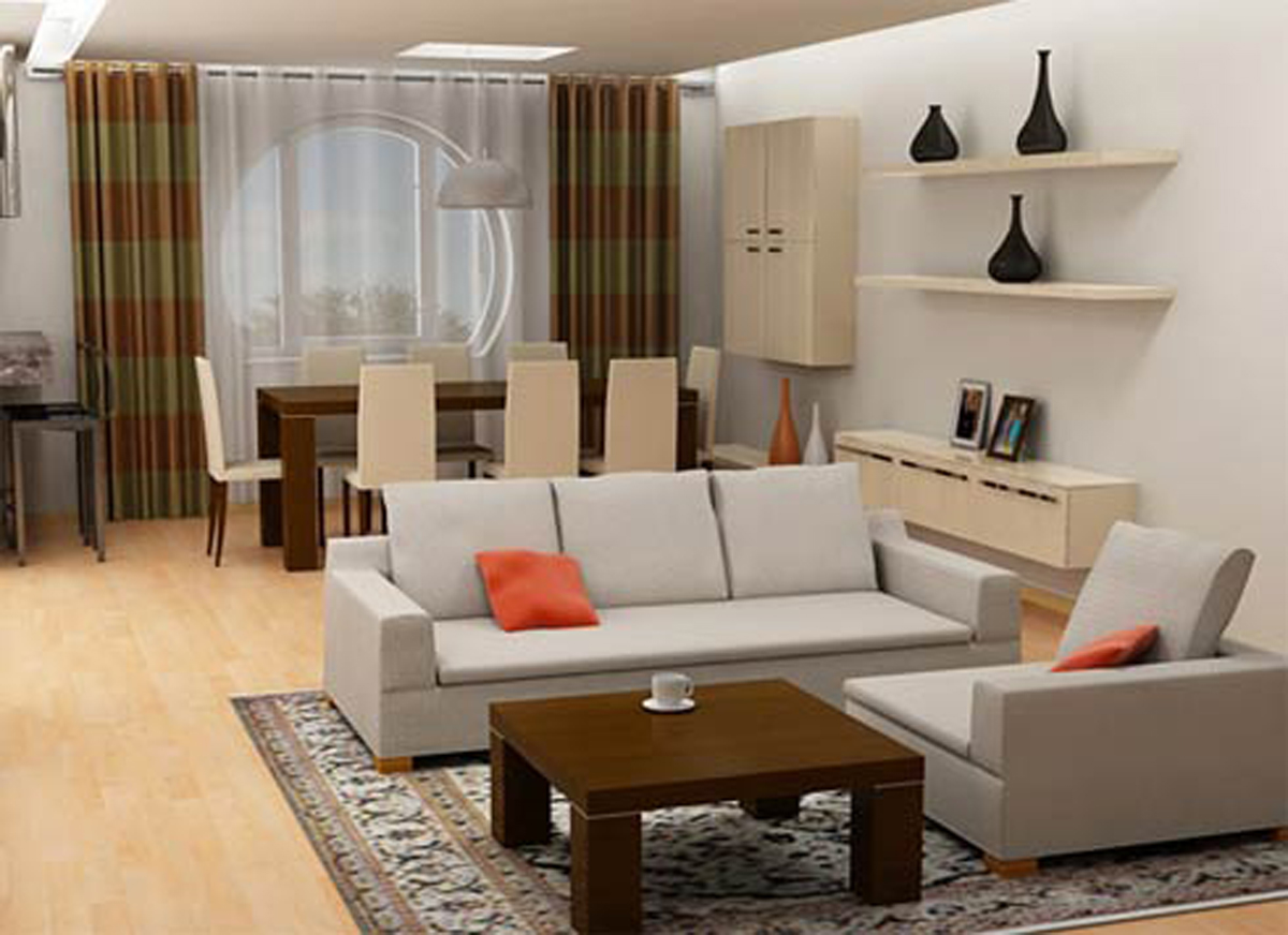 Well Connected Living Room And Dining Space Of Conemporary Home With Grey  Interior