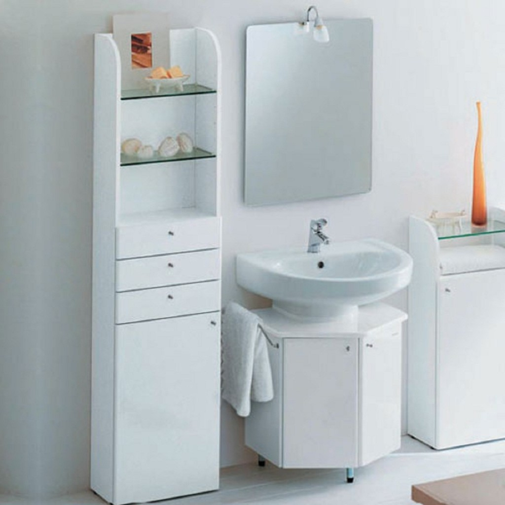 White Bathroom Vanity and Cabinets to Complete Bathroom Storage Ideas for Small Bathroom
