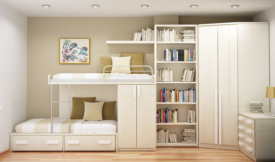 White Bunk Beds and High Tidy Bookshelves for Small Kids Bedroom Ideas on Laminate Flooring