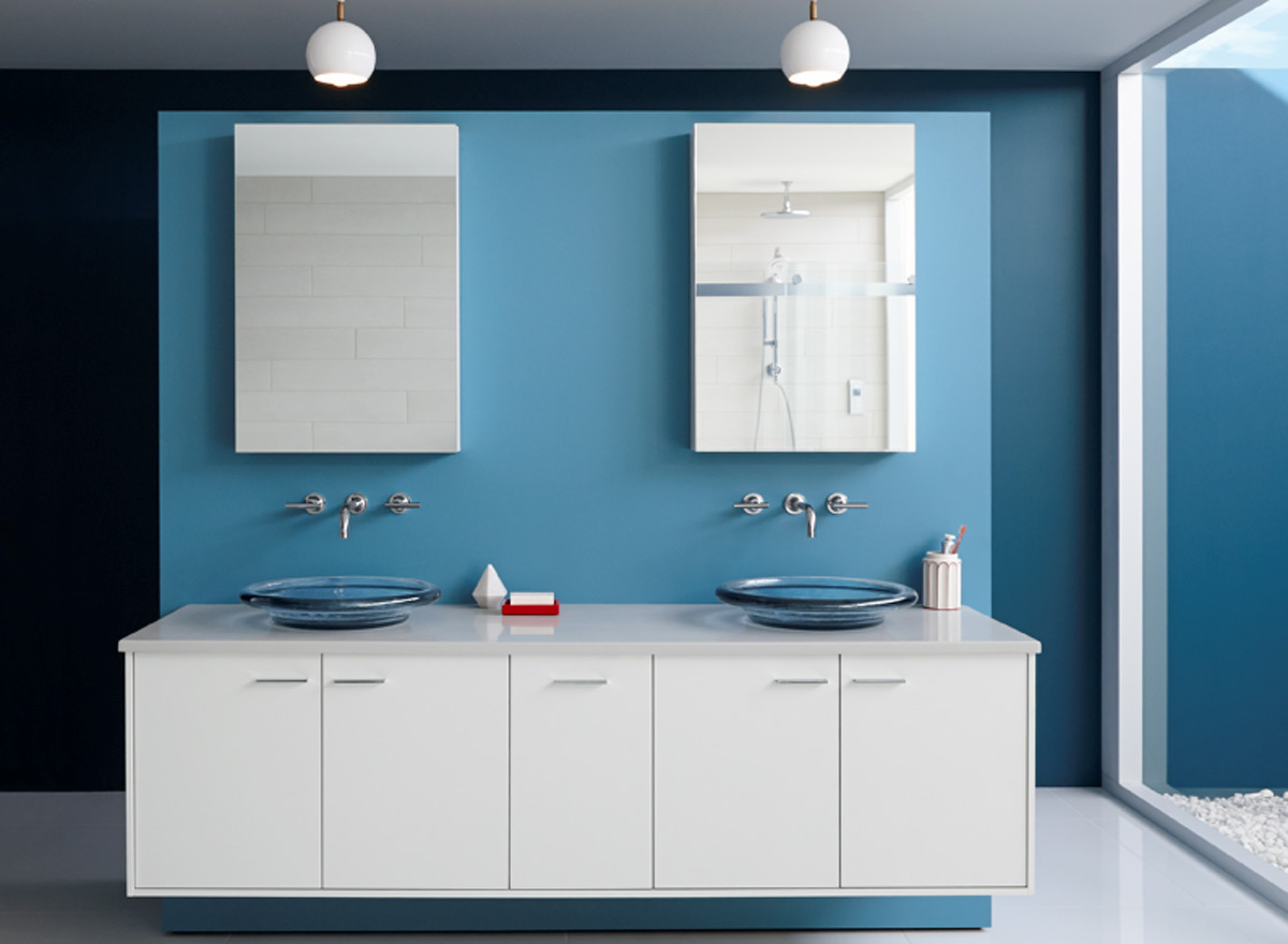 White Floating Vanity with Double Sinks and Mirrors Collaborated with Blue Wall Painting for Bathroom Color Ideas