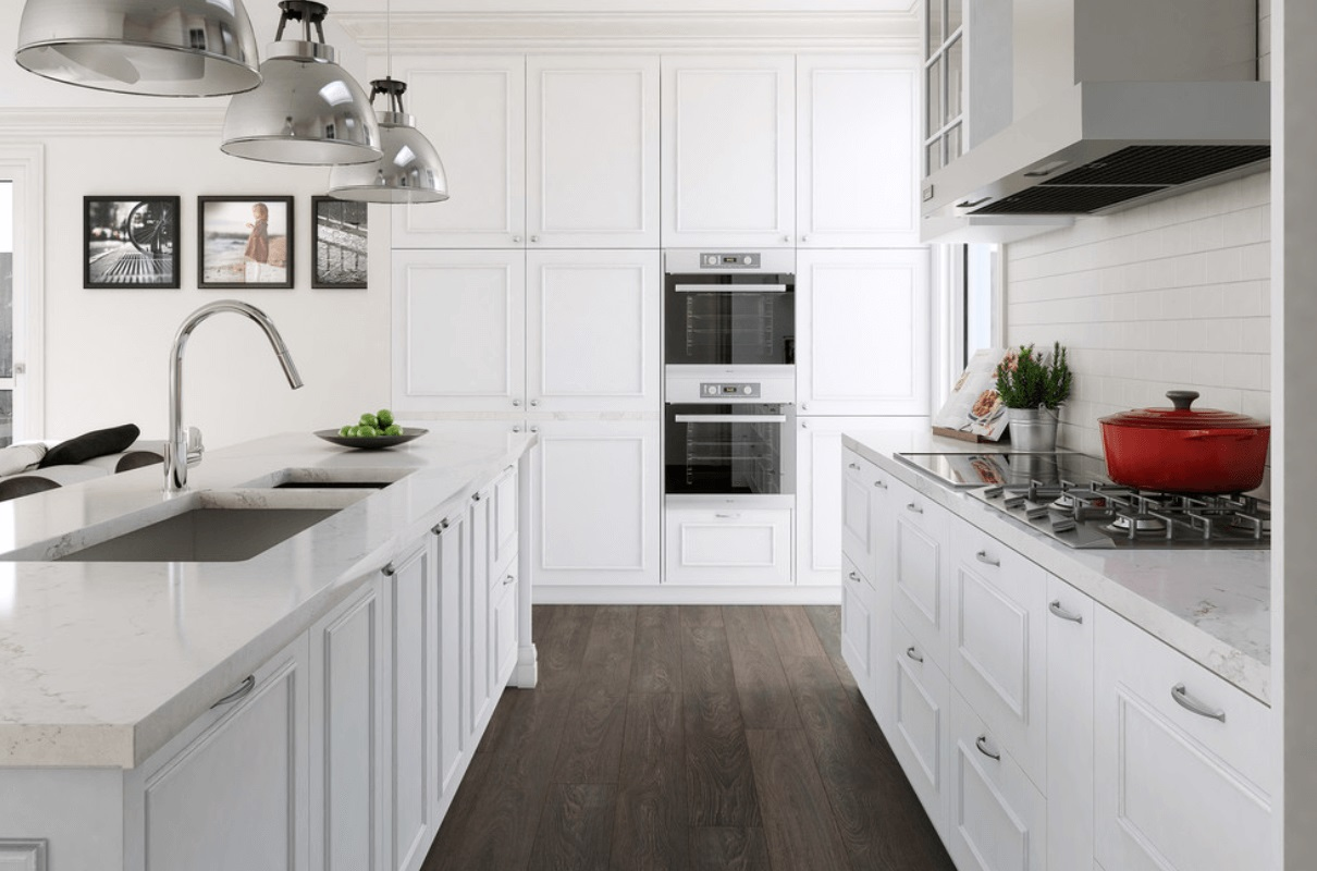 White Kitchen Cabinets and Long Island Completing Classic Kitchen with Natural Oak Flooring