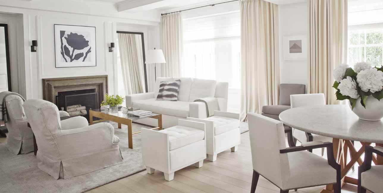 White living spaces furniture and wooden table looks perfect for traditional living room