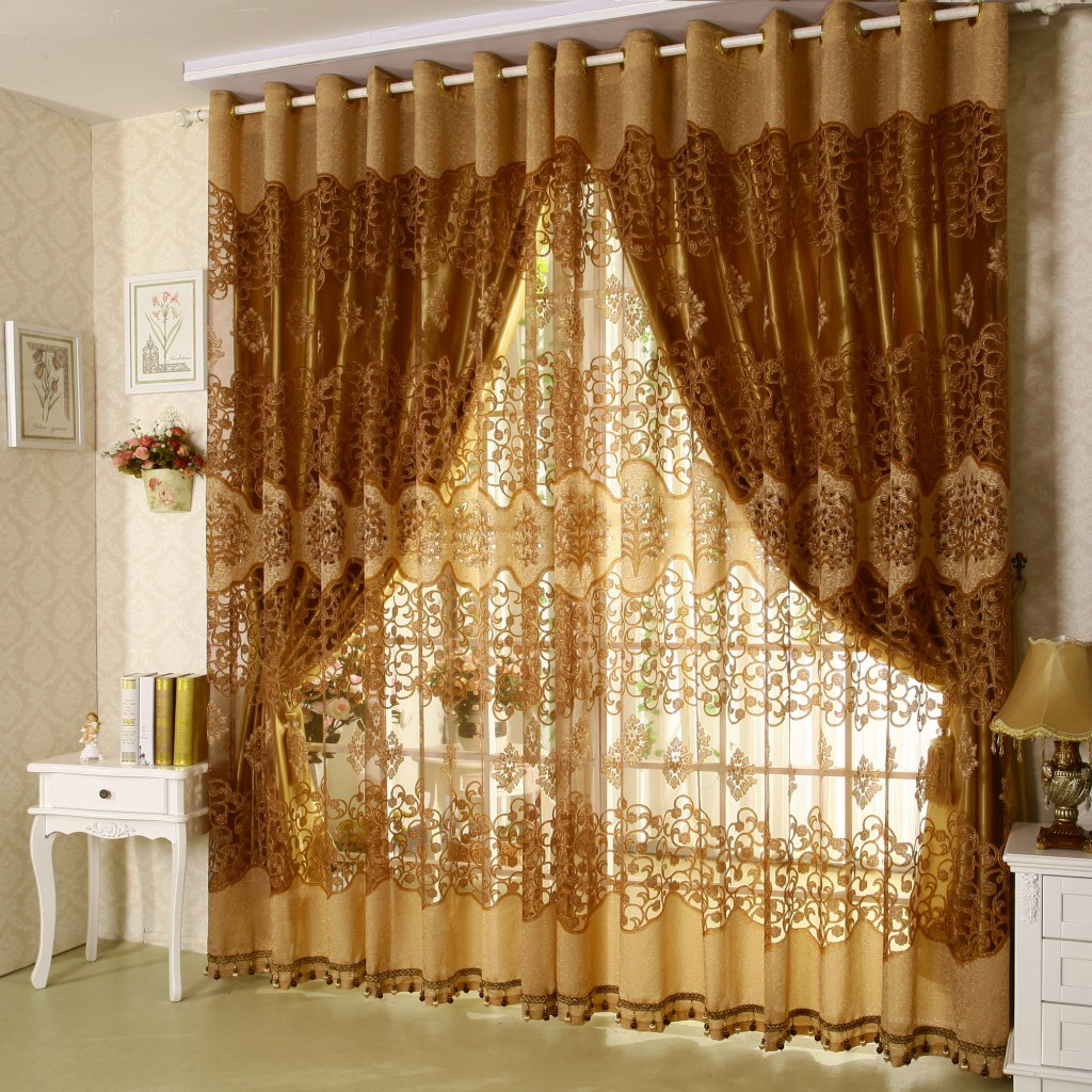 White Nightstands and Small Table Lamp Placed beside Stunning Brown Living Room Curtains for Wide Windows