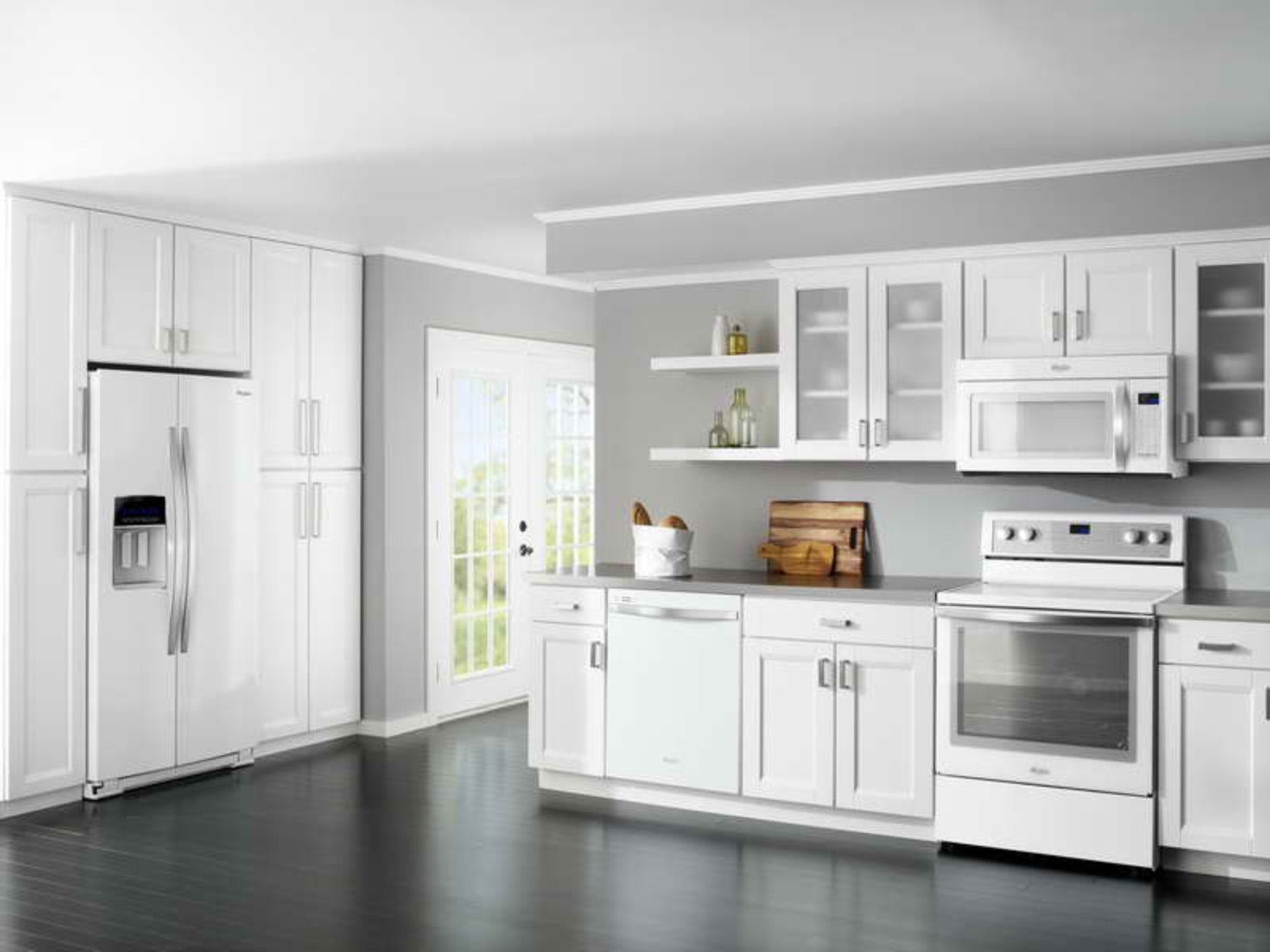 White and Grey Kitchen Color Scheme Supported by Dark Finished Wooden Flooring