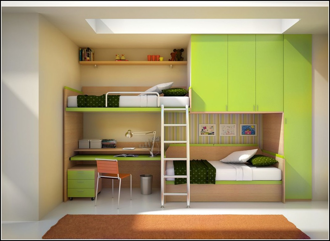 Wide Skylight above Minimalist Bunk Bed with Desk and Green Wardrobe Cabinets on White Flooring