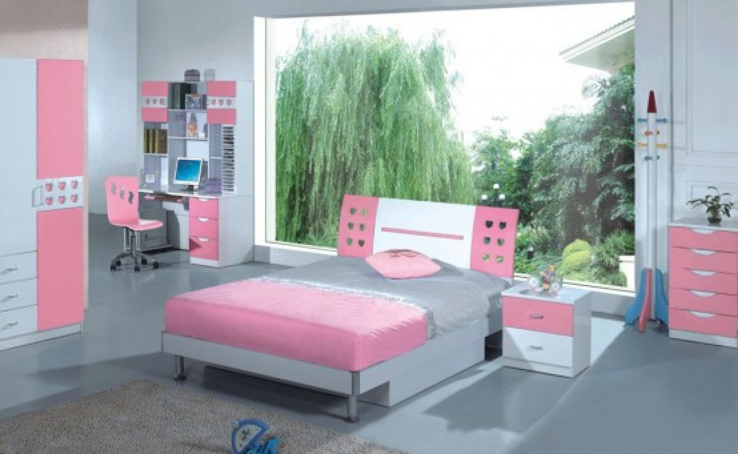 Witching Pink Teenage Bedroom Ideas With Nature Background And Cute Stuffs