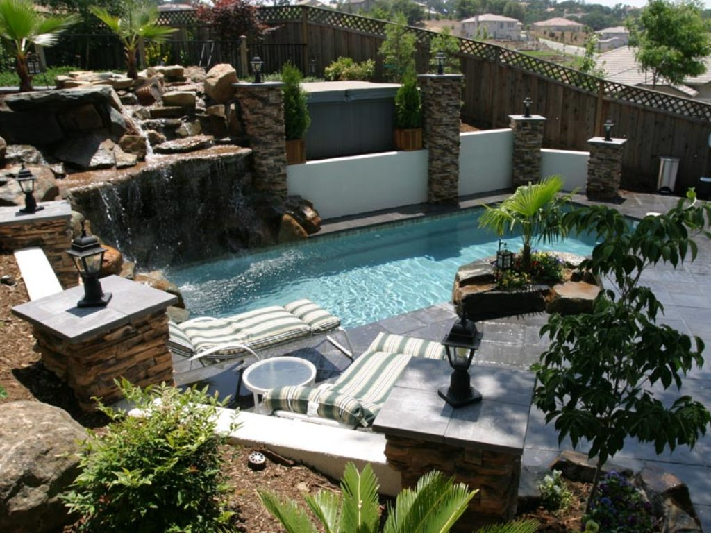 Wonderful Natural Backyard Patio Ideas with Great Artificial Stream and Waterfall Landscape