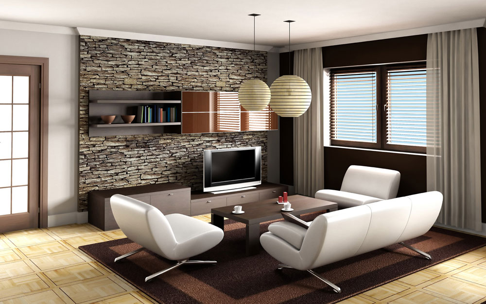 Wonderful Stone Wall with Smart Shelving Unit to Create Focal Point of Modern Living Room