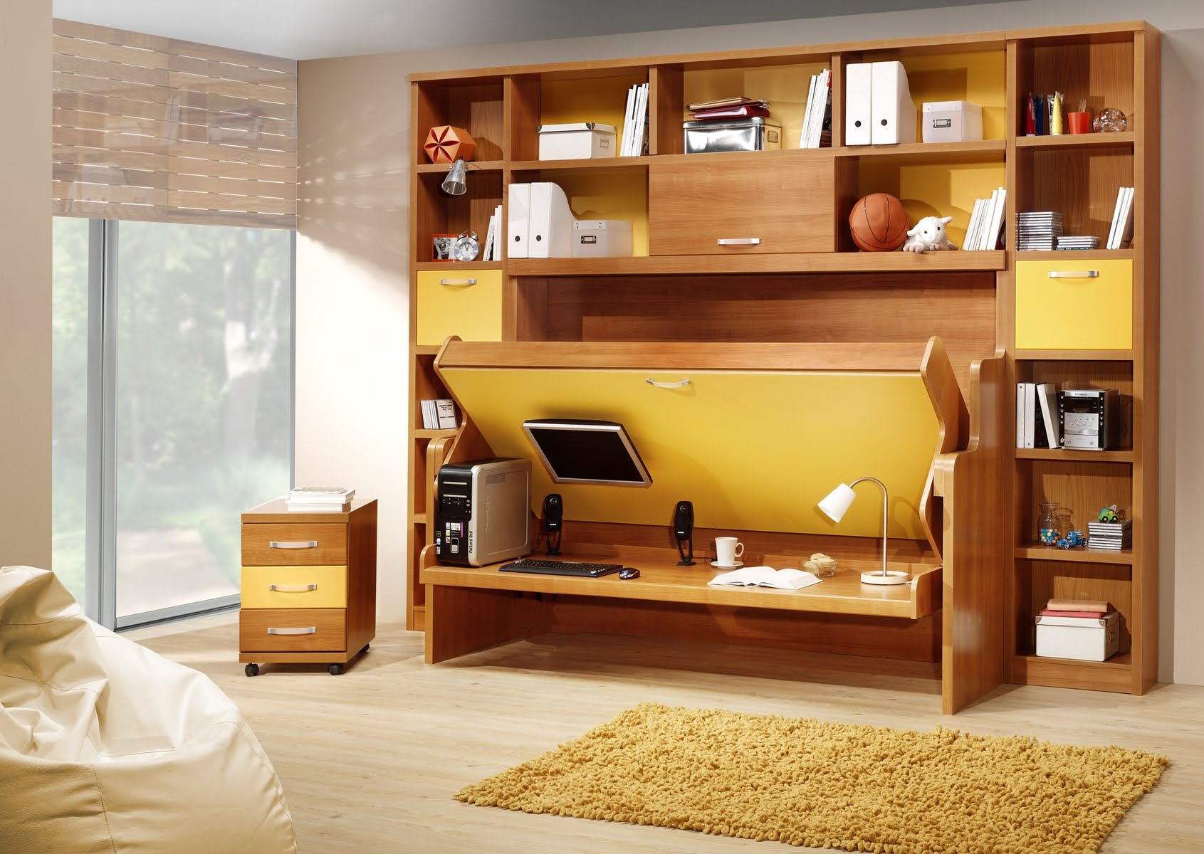 Wooden Reversible Bed on High Oak Shelves for Small Room Ideas with Brown Carpet Rug