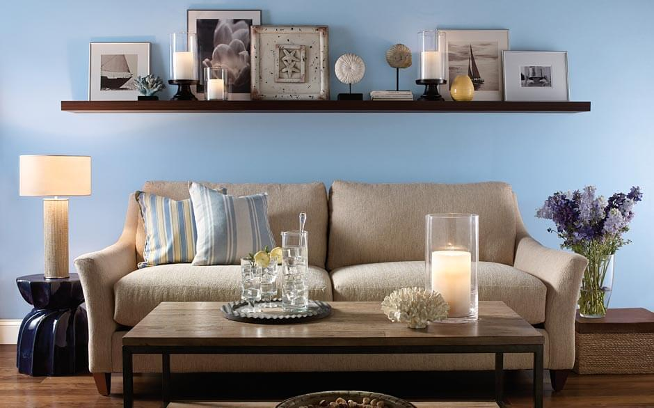 Wooden Top Coffee Table And Grey Sofa Filled Cozy Room Using Blue Living  Room Colors