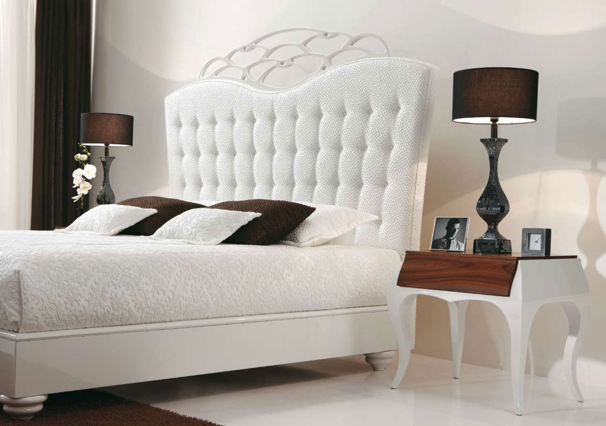 Add Beige Bedside Table Lamps on Classic Side Tables for Elegant Bedroom with White Tufted Headboard