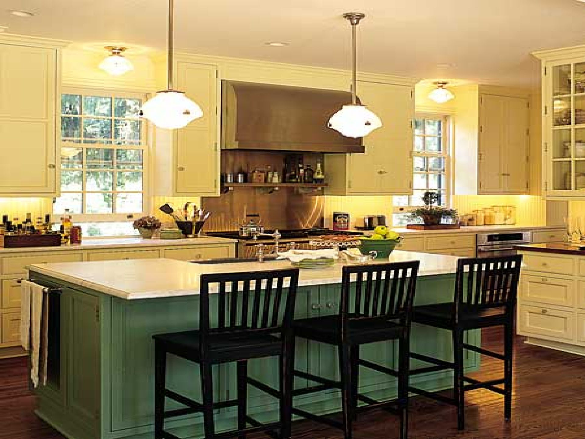 Add Bright Lamps above Old Fashioned Grey Kitchen Island Plans and Black Stools on Hardwood Flooring