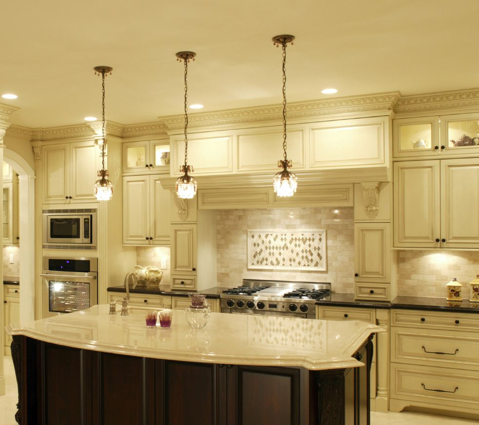 Add Bright Pendant Light Shades For Old Fashioned Kitchen With Oak Island  And White Counter Under