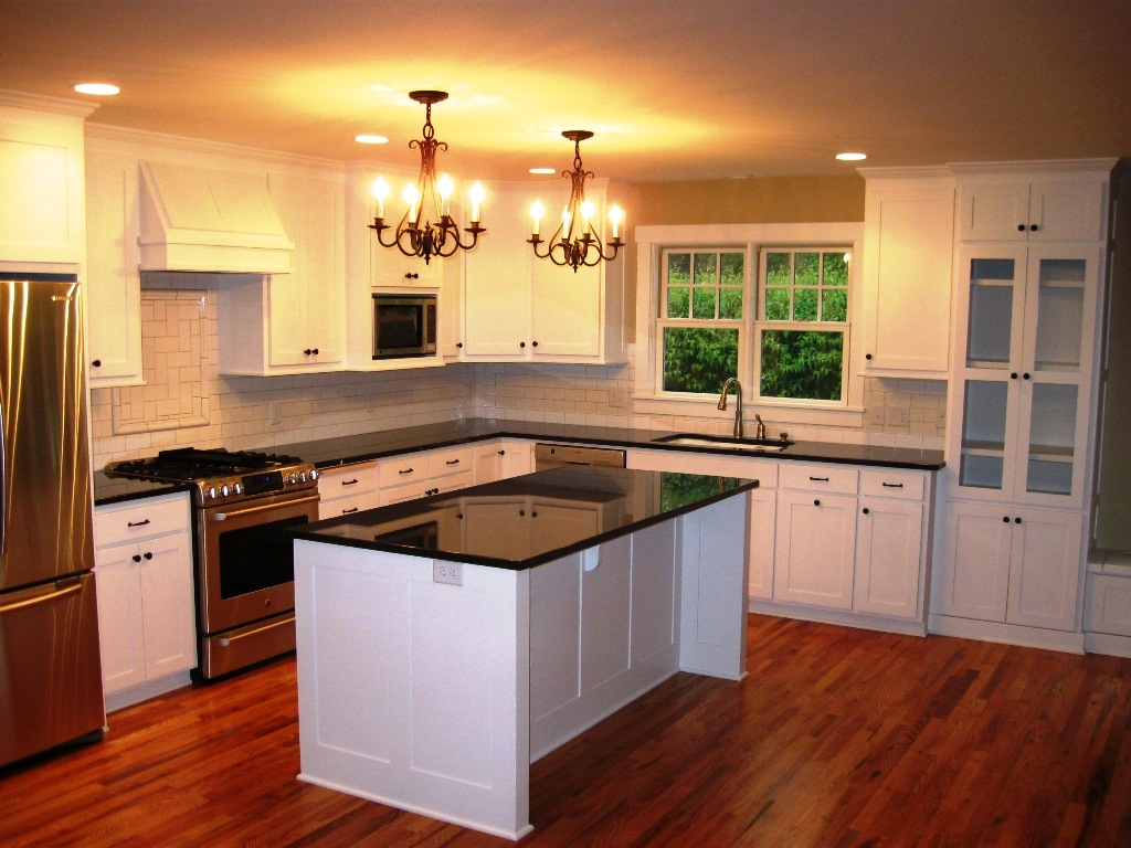 Add Classic Chandeliers Inside Old Fashioned Kitchen With White Kitchen  Island And Black Countertop