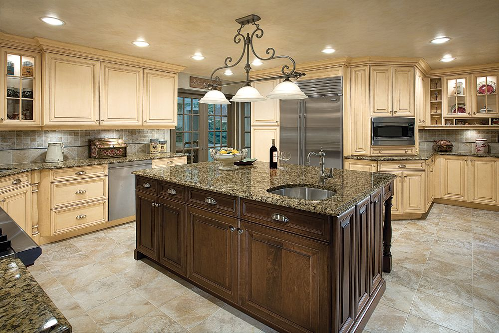 Add Classic Kitchen Lighting Ideas for Gorgeous Kitchen with Wooden Island and Cream Cabinets