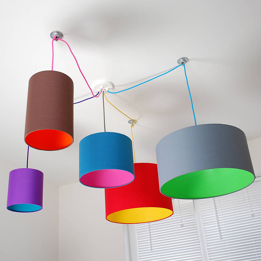 Add Colorful Drum Lamp Shades for Ceiling Lamps on White Painted Ceiling in Cozy Room