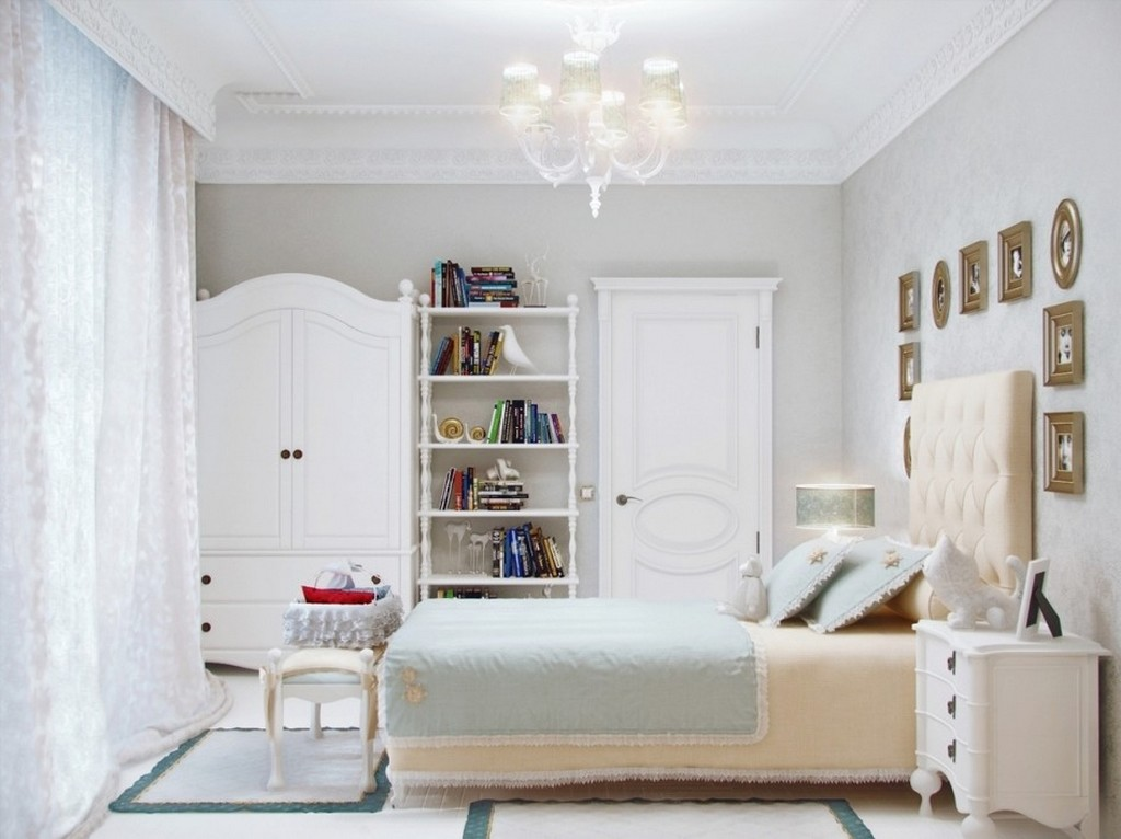 Add Crystal Chandelier for Elegant Room using Teen Bedroom Furniture with Tufted Headboard and White Cabinet