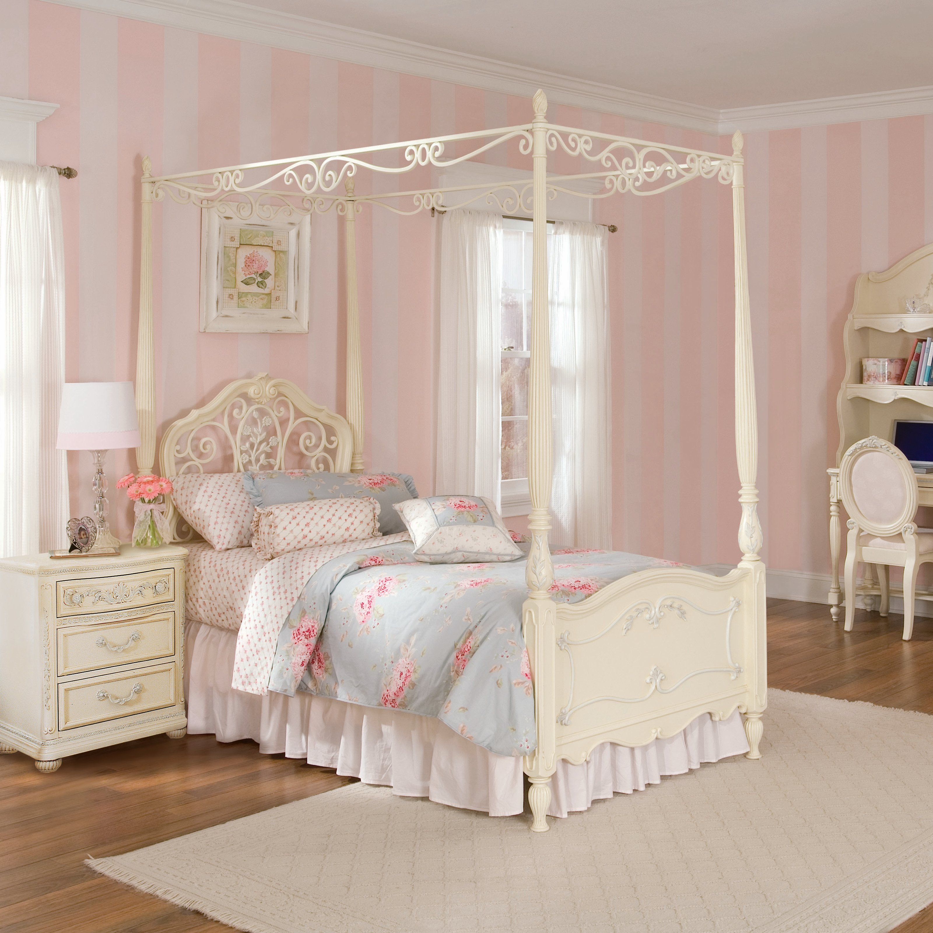 Add Elegant Girls Canopy Bed for Gorgeous Bedroom with White Nightstand and Table Lamp