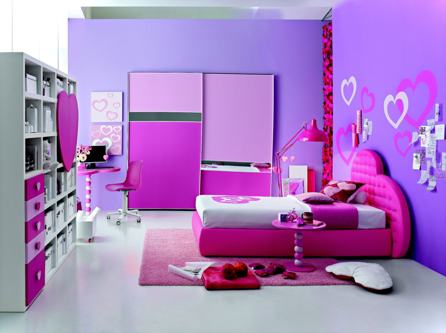 Add Fabulous Wall Ornaments on Purple Wall inside Fancy Girls Room Ideas with Pink Bed and Side Table
