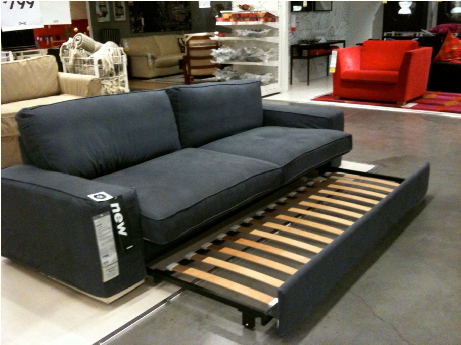 Add Fluffy Cushions on Interesting Sofa Bed Mattress for Appealing Showroom with Concrete Flooring