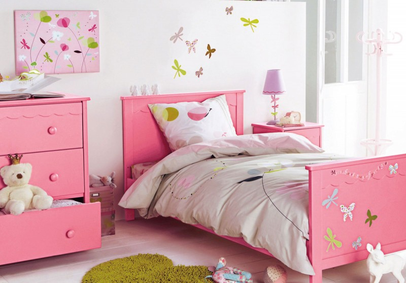 Add Fluffy Duvet on Pink Bed inside Cute Girls Room Decor for Bedroom with Pink Dresser