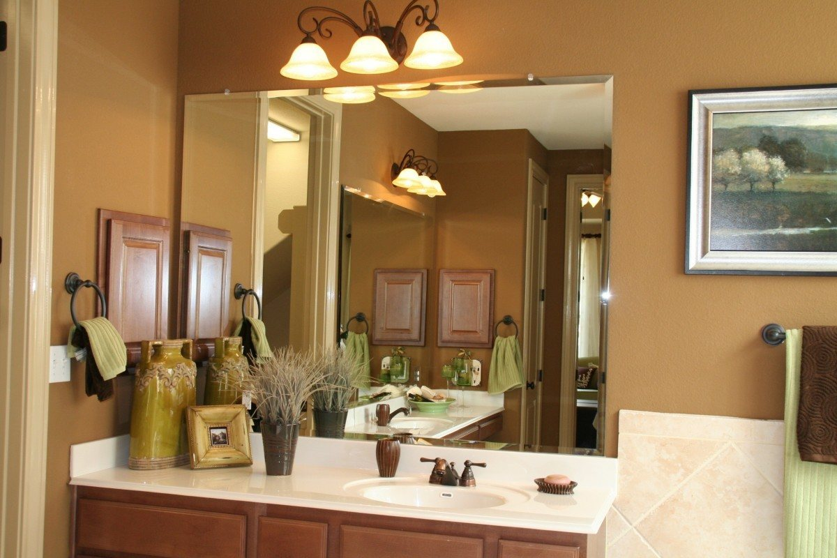 Add Frameless Bathroom Vanity Mirrors In Old Fashioned Room With Oak Vanity  And White Sink