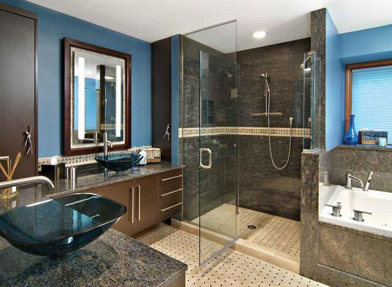 Good Add Glass Sink Bowls On Wooden Vanity For Impressive Master Bathroom Ideas  With Closed Shower Room