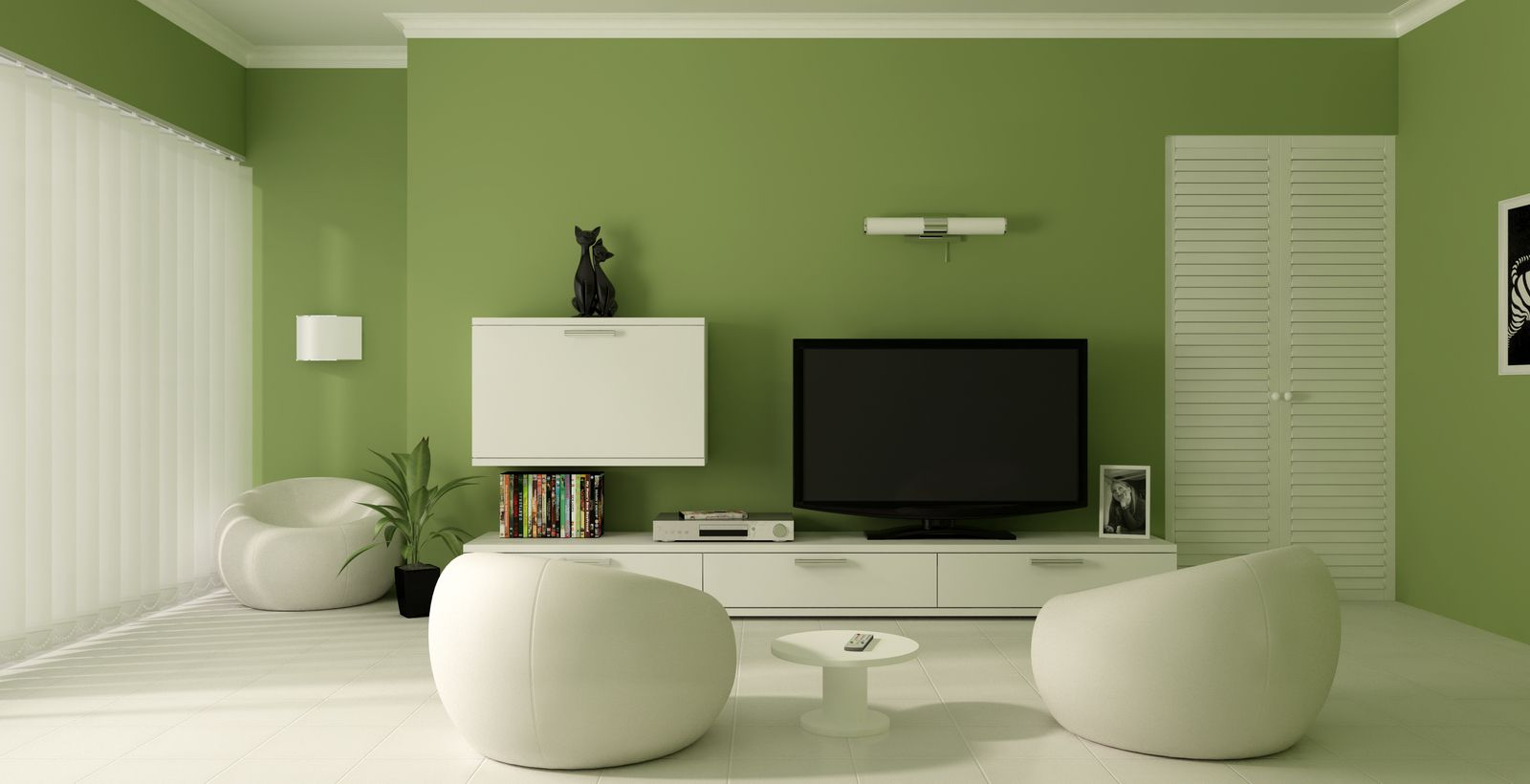 Beau Add Green Living Room Paint Ideas For Simple Room With White Chairs And  Round Side Table