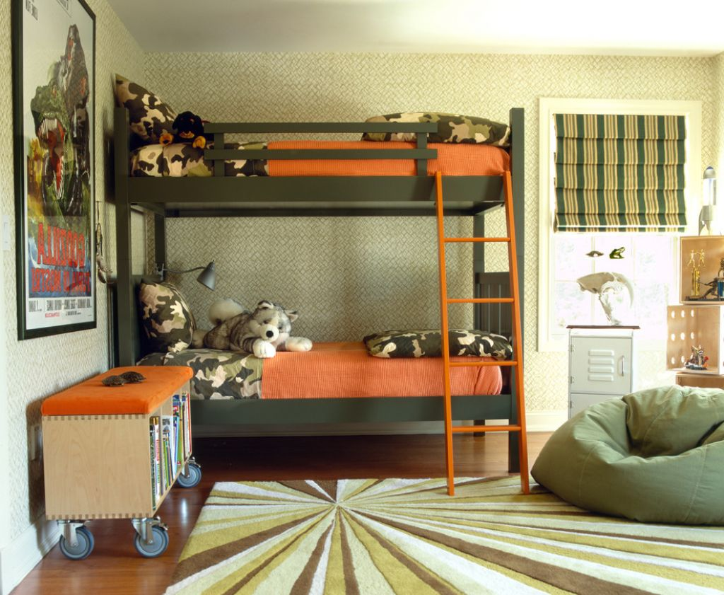 Ordinaire Add Grey Bean Bag And Simple Boys Bunk Beds On Wide Carpet And Hardwood  Flooring