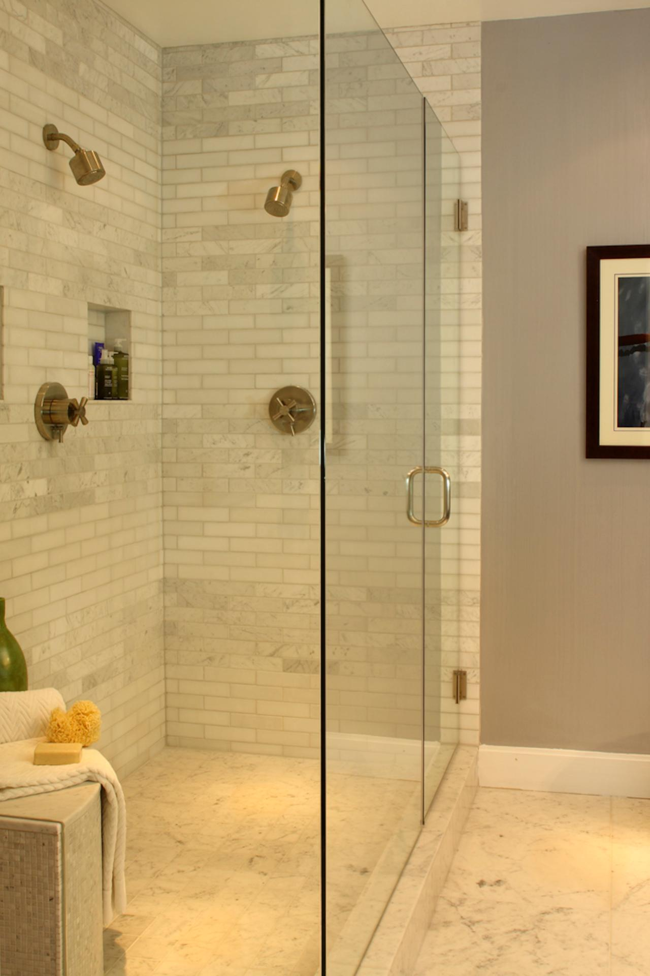 Small Shower With Subway Tile. fixer upper reveal wood grain woods ...