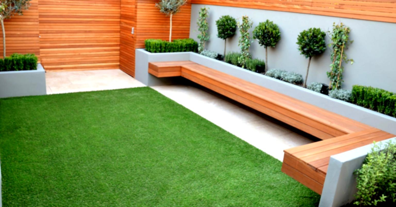 Add Long Sectional Oak Bench for Small Garden Ideas with Gree Grass Area and Stylish Wooden Wall Fence