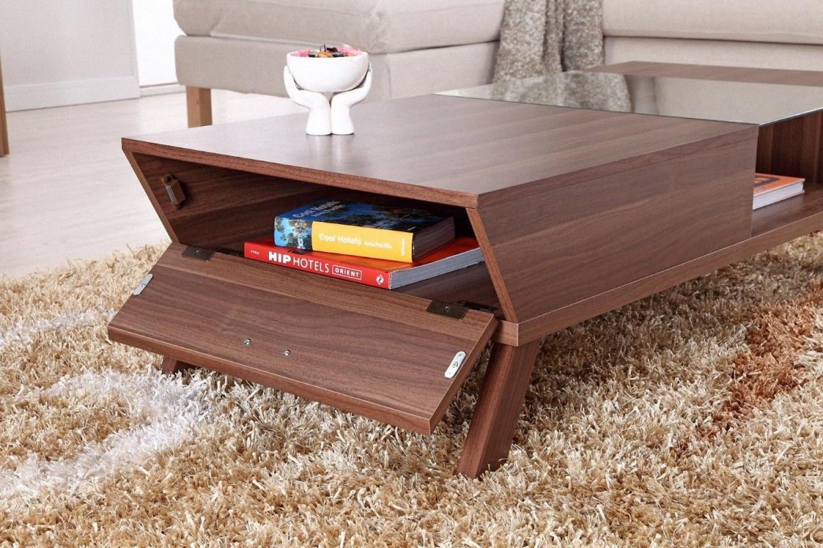 Exceptionnel Add Lower Cabinet In Contemporary Small Coffee Table With Glass Panel Top  And Wooden Legs