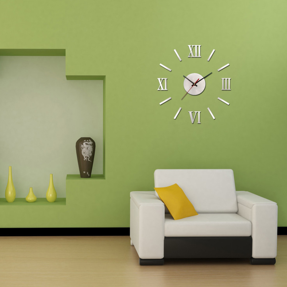 Gentil Add Modern Wall Clocks For Stunning Living Room With White Sofa And Yellow  Cushion Near Green