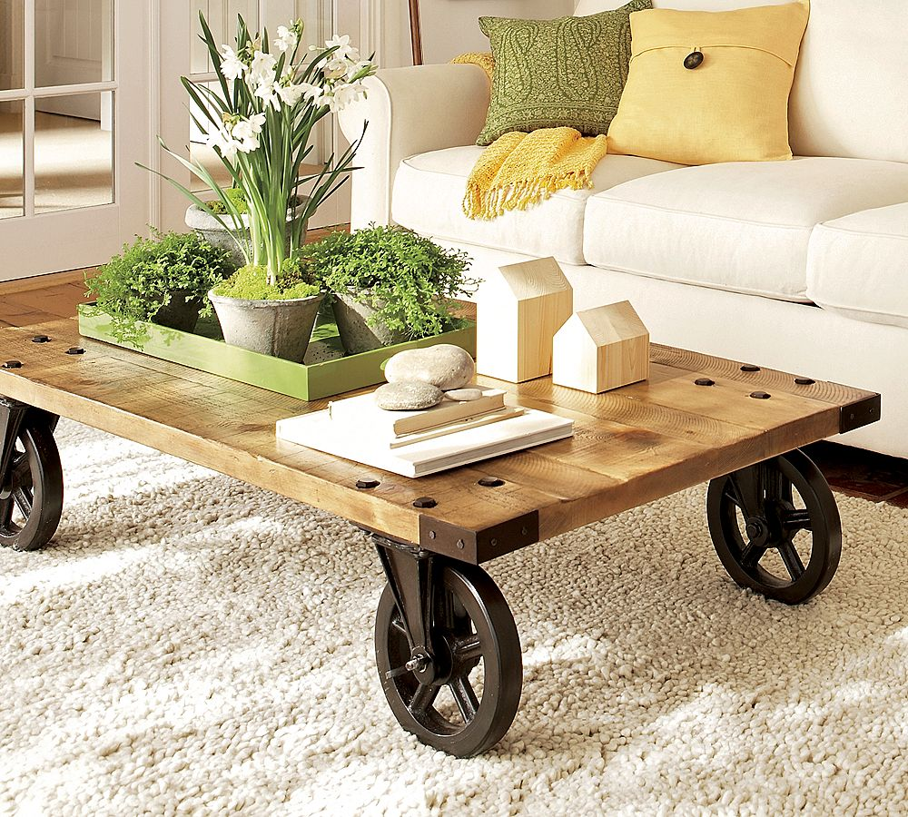 Add Rustic Wheels for Unique Coffee Tables in Traditional Sitting Room with White Sofa : rustic living room table sets - pezcame.com