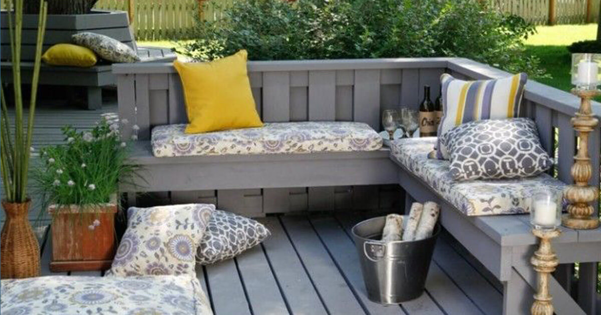 Add Sectional Wooden Bench on Grey Oak Deck in Comfortable Backyard Landscaping Ideas with Fluffy Cushions