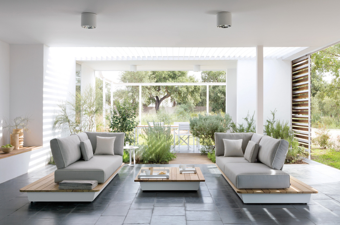 Add Simple Look of Living Room with Low Large Square Coffee Table and Grey Chaises under White Ceiling