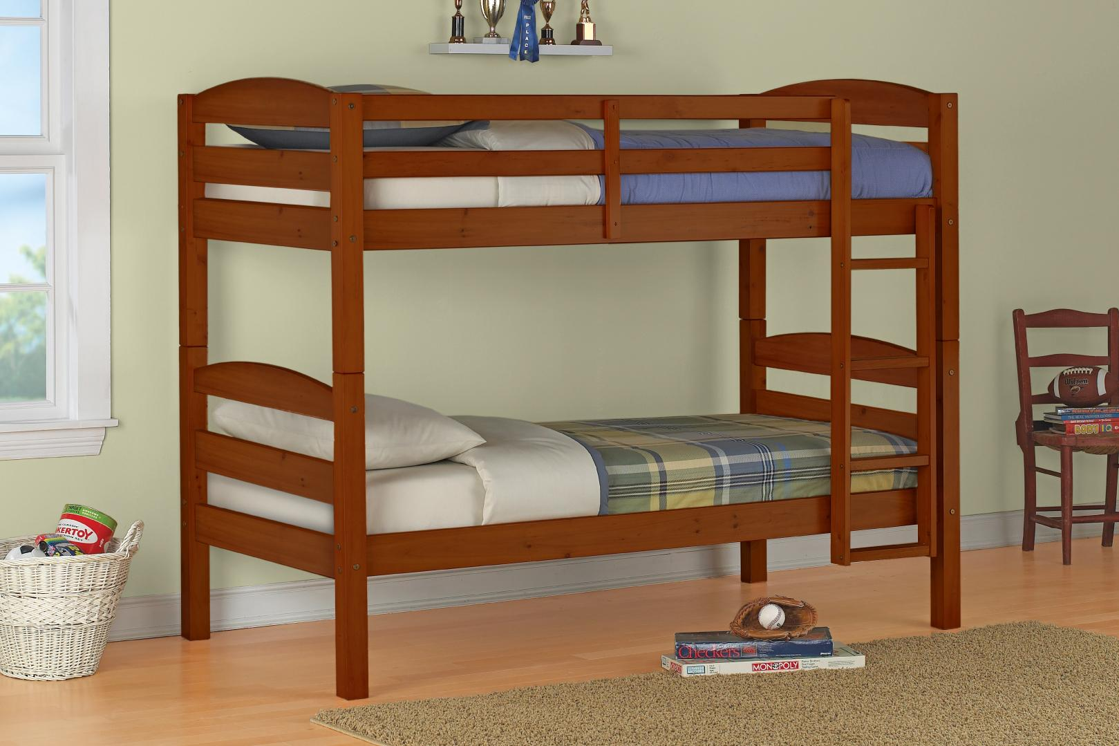 Add Simple Wooden Bunk Beds in Simple Kids Bedroom with White Wicker Basket on Hardwood Flooring