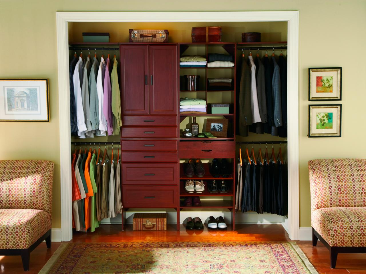 Add Small Closet Ideas for Old Fashioned Bedroom with Wooden Cabinets and Shoes Shelves