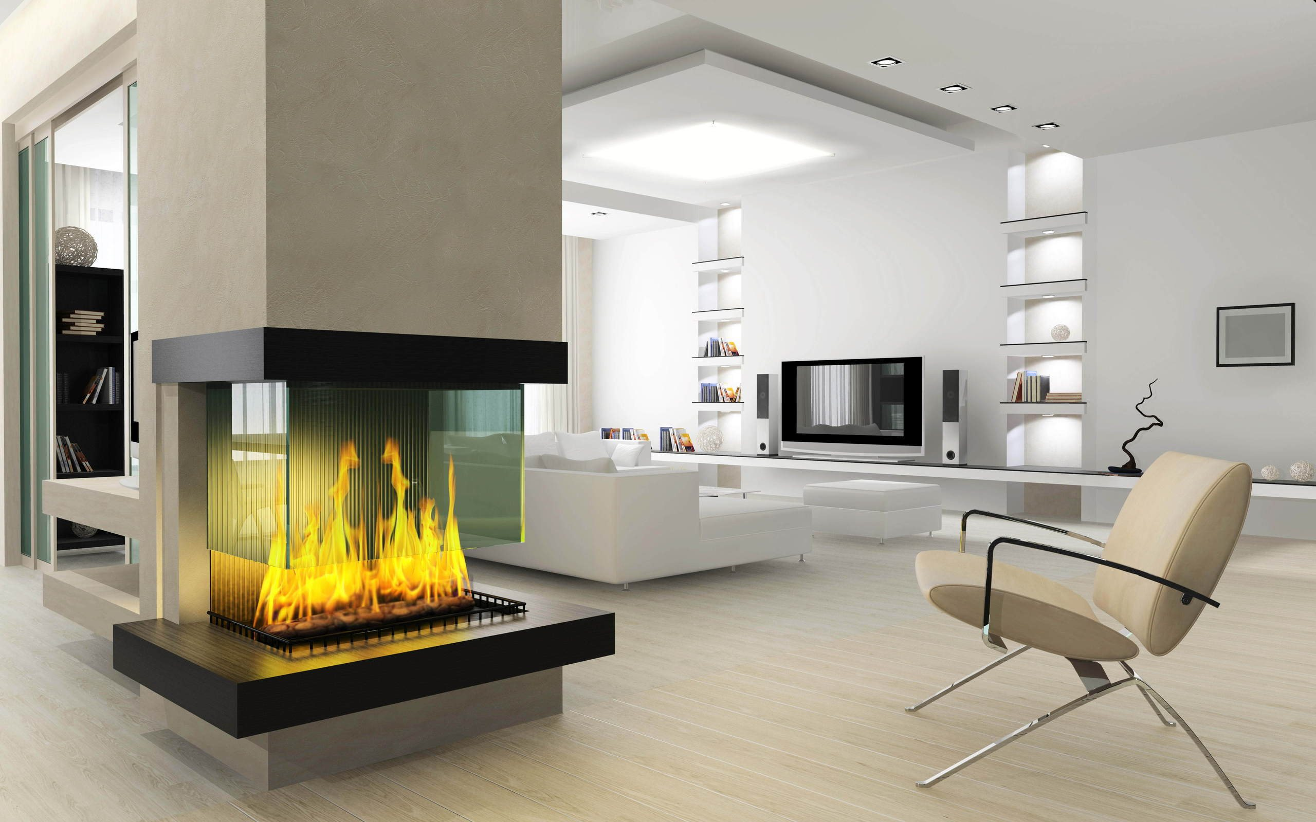 Add Stylish Fireplace in Modern Interior Design near Living Room with White Sofas and Ottoman