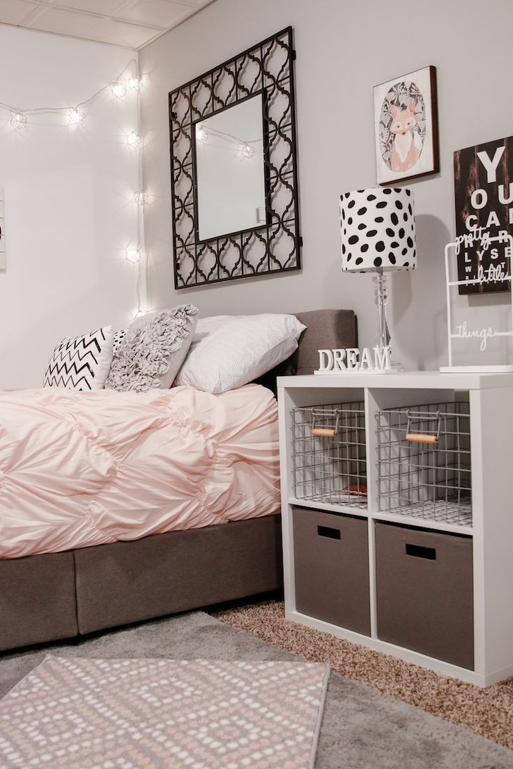 Add Wall Mirror in Unusual Room Ideas for Teens with Grey Bed and Pink Duvet beside White Shelves