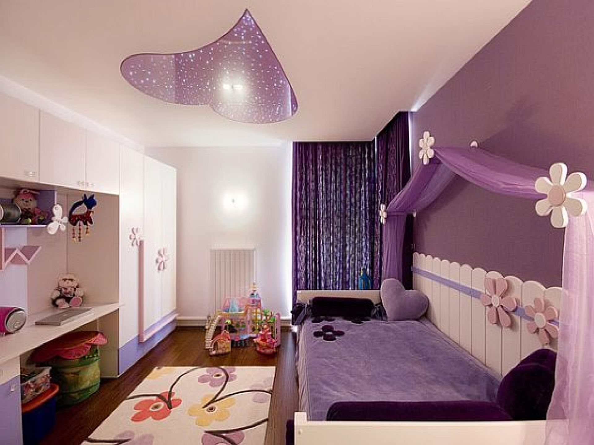 Add White Bed and Purple Bedding inside Cozy Teenage Girl Room Ideas with White Desk and Carpet