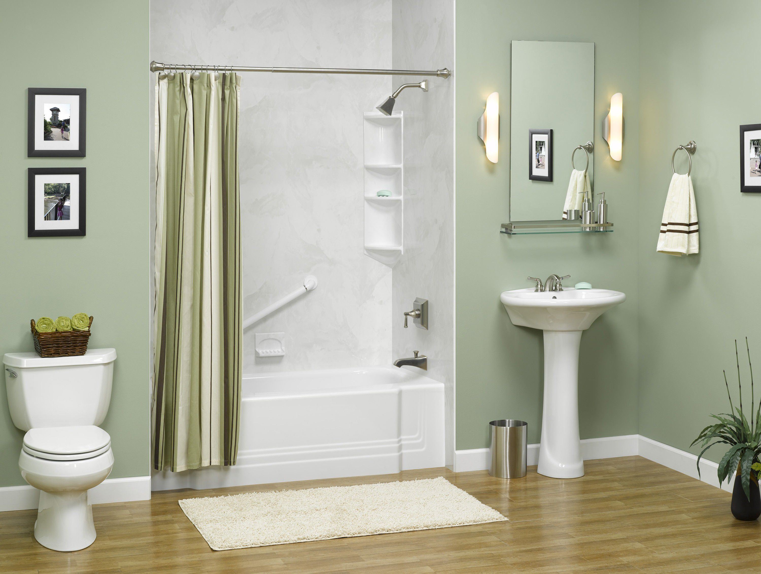 Add White Pedestal Sink and Bathtub for Simple Room using Grey Bathroom Paint Ideas with Hardwood Flooring