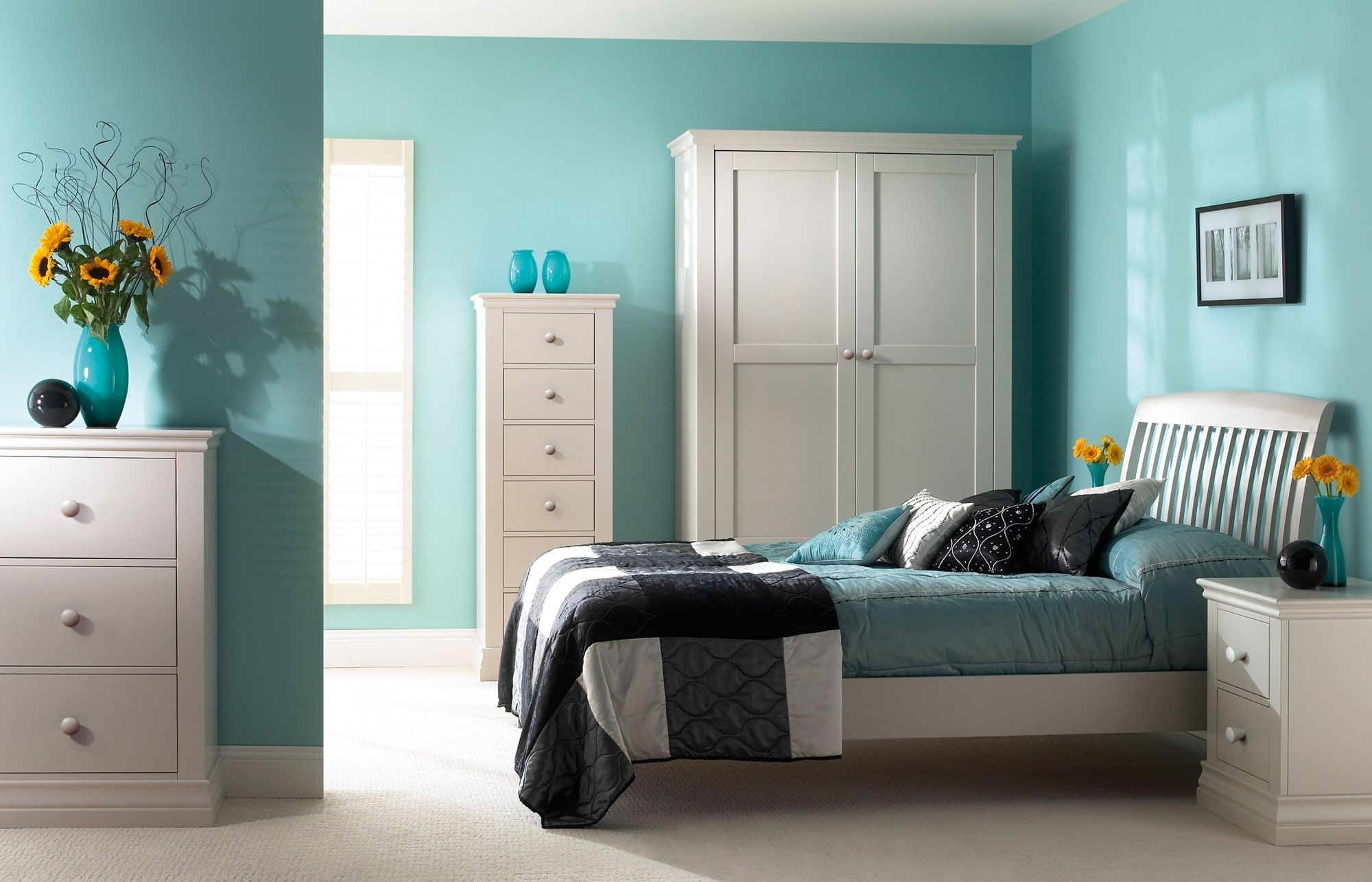 Add Yellow Sunflowers In Blue Bedroom Color Schemes For Wide Room With  White Dressers And Bed