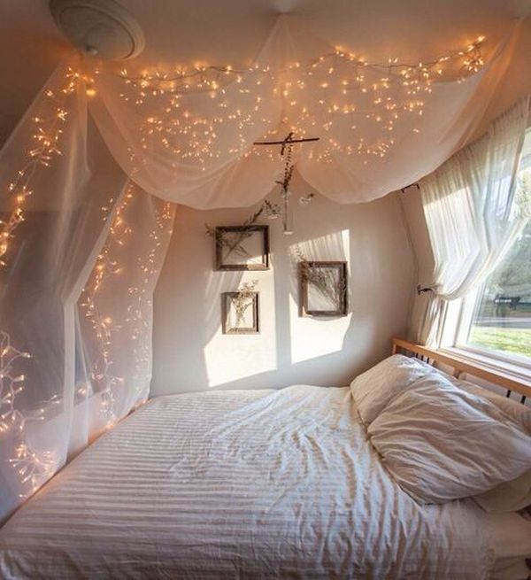 Adorable Canopy Bed With Mosquito Net also Romantic Lighting Fixture