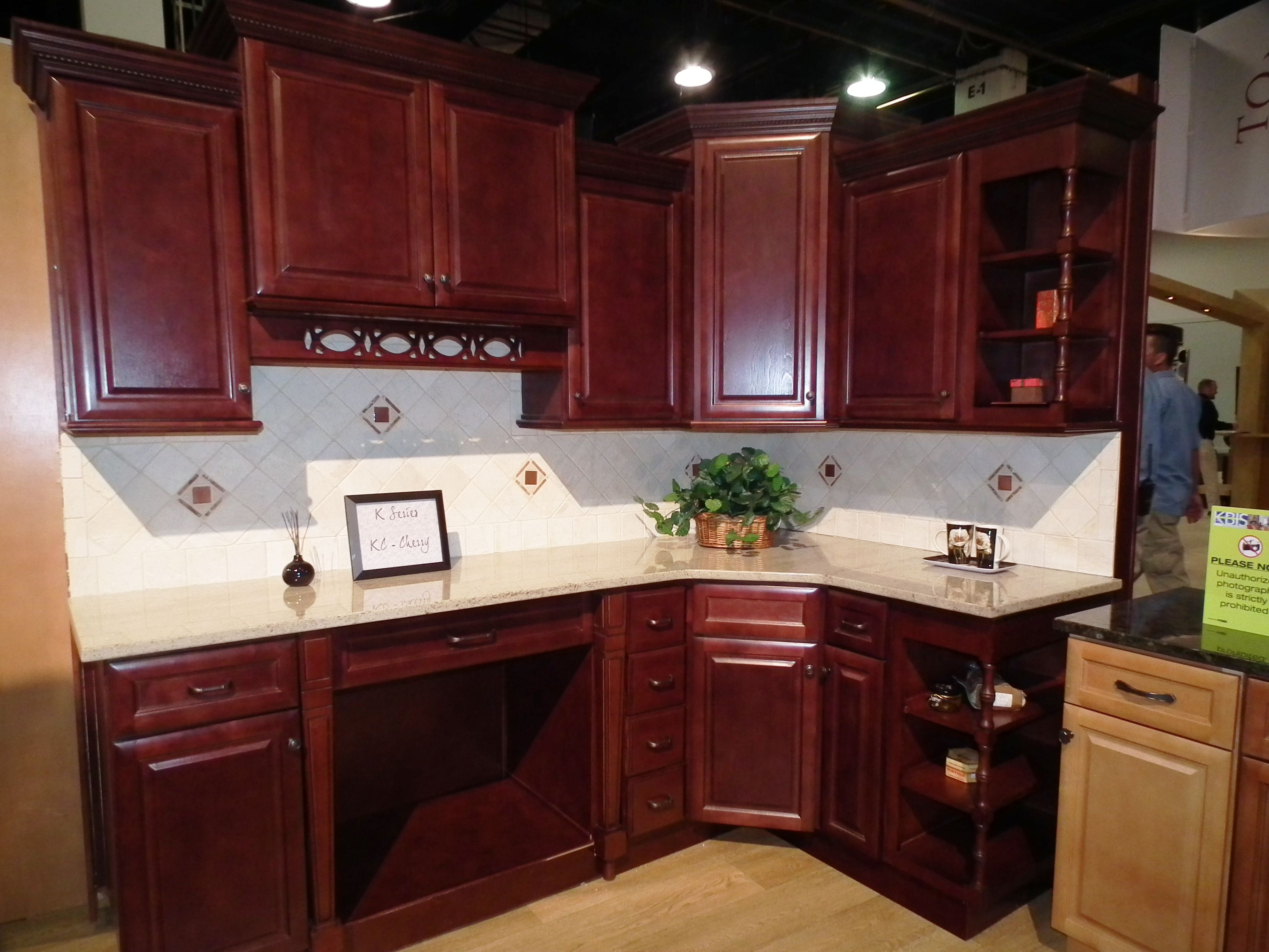 Adorable Design White Cabinets Kitchen with Wooden Material and Brown Color Accent